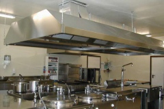 Kitchen for 350 people fitted into a  prefabricated structure.